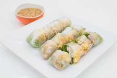 NOODLE Thai apply style vegetables roll. Snacks are beneficial to the body and health. The review of all ages as food in Asia. Royalty Free Stock Image
