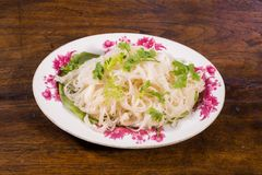 Noodle thai style in plate. Topping by coriander Royalty Free Stock Photos