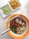 Noodle tom yum food in thailand. Noodle tom yum food on thailand royalty free stock image