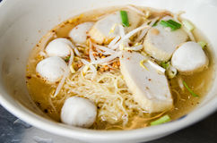 Noodle tomyum soup with fishball. Noodle with fishball or kuaytiew in thai Stock Image
