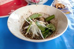 Noodle of traditional thai food. Beef noodles braised taste delicious at Thailand. Thai peoples call `Boat Noodles `. Close up image and selective focus royalty free stock images