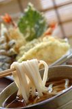 Noodle udon. Noodle of japanese food with bamboo background royalty free stock photography