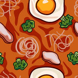 Noodle and vegetable soup seamless pattern. Vector illustration. Illustration food seamless color background, vector illustration Stock Illustration