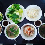 Noodle vietnam traditional food. Vietnam traditional food. it`s call `pho kho`. Main ingradient from rice, meat, tropical vegestable Stock Photo