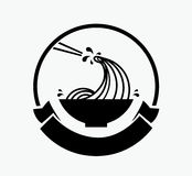 Noodle wave in bowl logo Stock Images