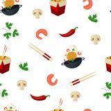 Noodle, wok and ingredients on seamless pattern. Seamless pattern with wok, noodle, chopsticks, shrimps, mushrooms, chili and parsley, cartoon vector Stock Photos