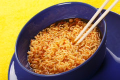 Noodle with wooden chopsticks Stock Photography