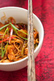 Noodledish. Delicious and freshly made noodledish with chicken and peppers Stock Image