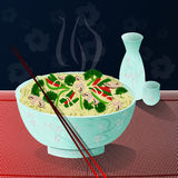 Noodles. A bowl of hot, delicious noodles with vegetables and sake beside it Stock Photography