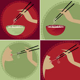 Noodles. Rice noodle bowls and chopsticks -- Woman enjoying noodles on chopsticks *mmmmm... yummy Royalty Free Illustration