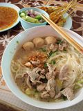 Noodles asia. Thailand is famous for its meatball and boiled royalty free stock photography
