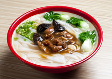 Noodles. Asian Cuisine delicious soup noodles with vegetable Royalty Free Stock Images