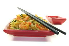 Noodles with Asian prawns royalty free stock photo