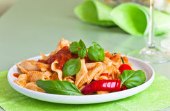 Noodles with basil and chili Royalty Free Stock Images