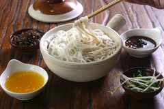 Noodles with Bean Paste. Chinese noodles with soybean jam/sauce Noodles with Soybean Sauce/Paste is Chinese cuisine The noodles has a history of nearly 2,000 royalty free stock photography