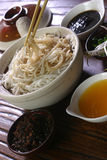 Noodles with Bean Paste. Chinese noodles with soybean jam/sauce Noodles with Soybean Sauce/Paste is Chinese cuisine The noodles has a history of nearly 2,000 royalty free stock images