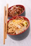 Noodles and beef Royalty Free Stock Photo