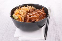 Noodles and beef Royalty Free Stock Photos