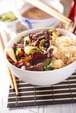Noodles and beef Stock Images