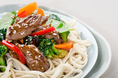 Noodles with beef stir fry Stock Image