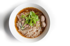 Noodles with Beef  Thailand Style on White Background Stock Photography