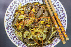 Noodles with beef. And vegetables Stock Image