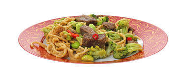 Noodles beef and vegetables meal Stock Image