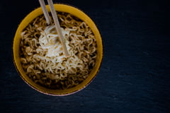 Noodles on black Royalty Free Stock Photos