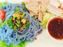 Noodles. Blue noodles with pork on dish Royalty Free Stock Photos