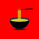 Noodles in the bowl vector Royalty Free Stock Images