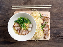 Noodles bowl on wooden background Stock Images