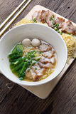 Noodles bowl on wooden background Stock Photos
