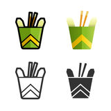 Noodles in a box vector colored icon set Stock Images