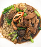 Noodles, braised pork. Is type of thai Noodle ingredient is  braised pork, Red Chilli, Shiitake cooked in soy sauce Royalty Free Stock Image