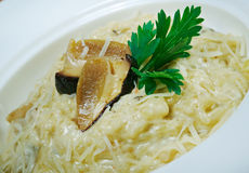 Noodles with cheese and mushrooms Stock Photos