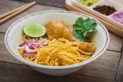 Noodles in chicken curry (Khao Soi), Thai food Royalty Free Stock Photography