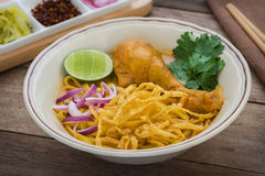 Noodles in chicken curry (Khao Soi), Thai food Stock Photos