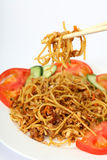 Noodles with chicken garlic and chilli Royalty Free Stock Photography