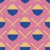 Noodles and chopsticks vector seamless pattern royalty free illustration