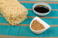 Noodles and condiments Stock Image