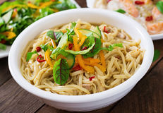 Noodles cooked in a miso broth Royalty Free Stock Image