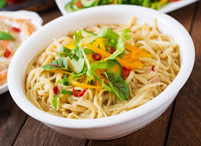Noodles cooked in a miso broth Stock Image