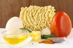 Noodles with cooking items Stock Image