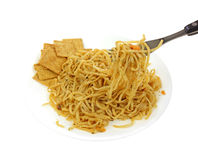 Noodles Crackers on Plate with Fork Royalty Free Stock Photos