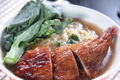 Noodles. Cuisine with meat and others ingredients stock photo