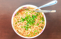 Noodles,cup,eat. Colorful noodles in a bowl to eat Stock Image