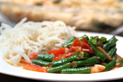 Noodles with curry of yard long bean. With selective focus stock photography