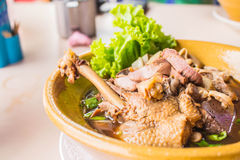 Noodles duck meat on the table. Stock Photography