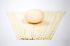 Noodles and eggs. Simple food collocation, health quality of life Royalty Free Stock Image