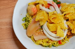 Noodles with fish ball and red sauce Royalty Free Stock Photos